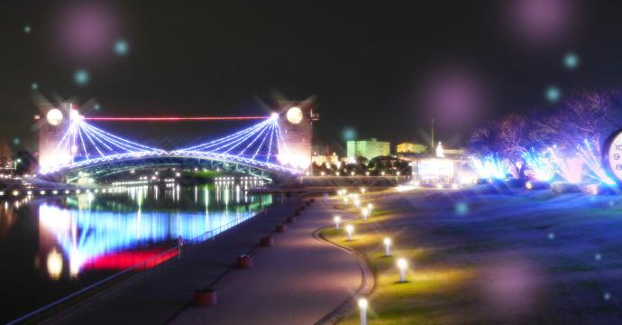 環水公園の夜はライトアップされて
